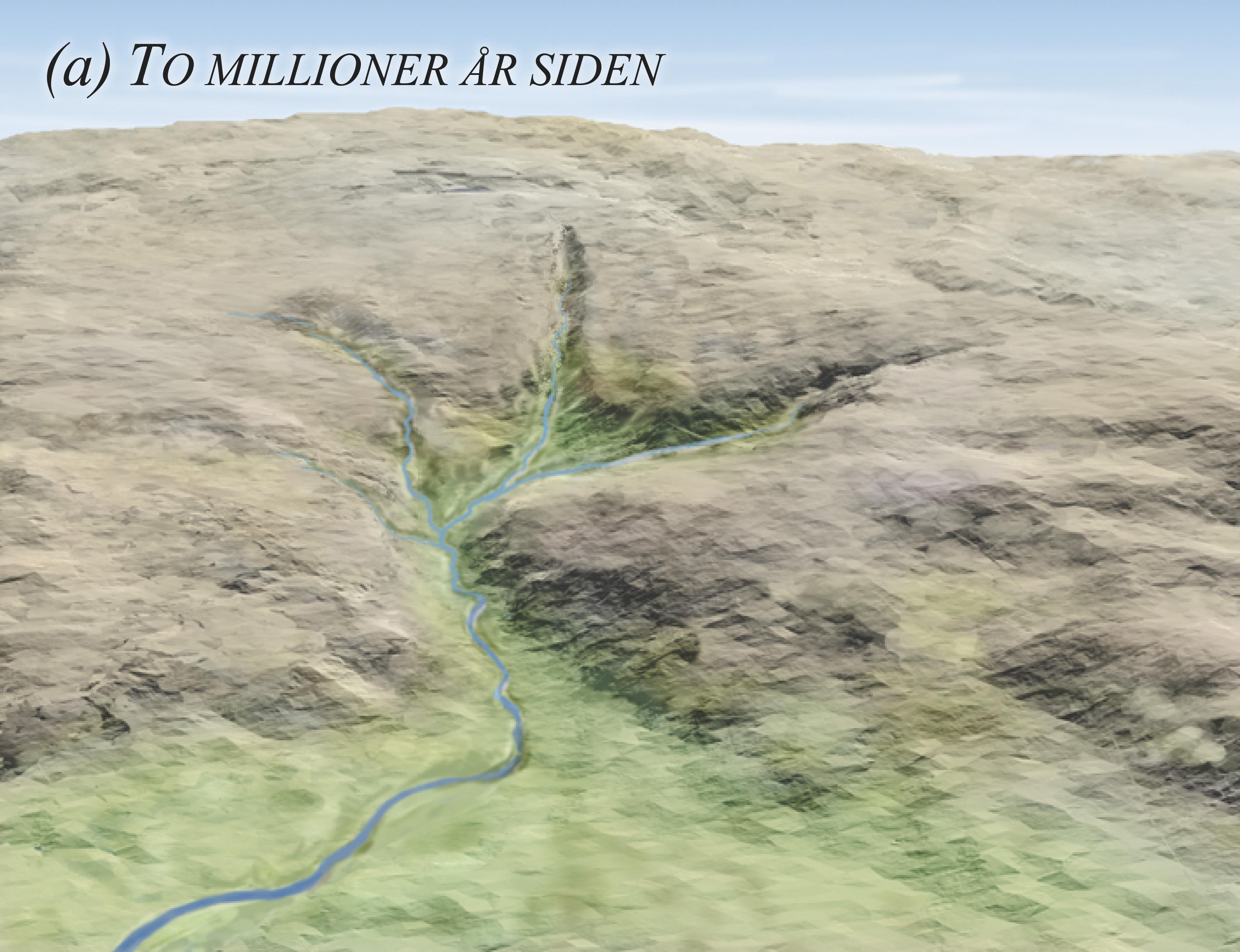 Dannelsen av landskapet i Isdalen-området. (a) 2 millioner år siden.