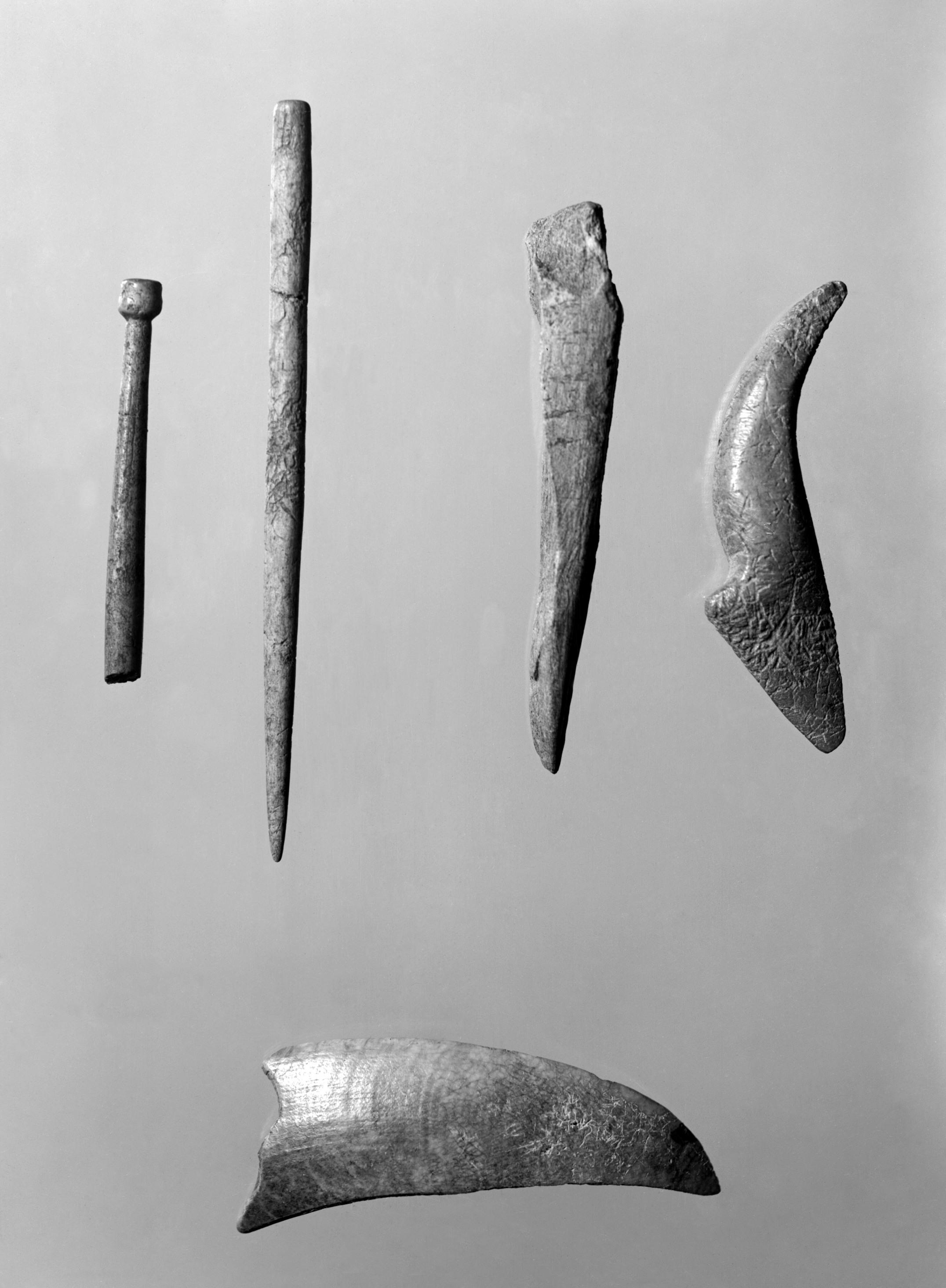 Gjenstander av bein og gevir. Over: nåler og andre gjenstander i bein og horn. Under: huggtannkniv. (Universitetsmuseet i Bergen)