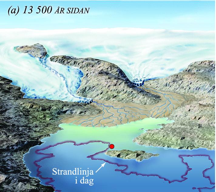 Etnebygda under isavsmeltinga for 13 500 år sidan.