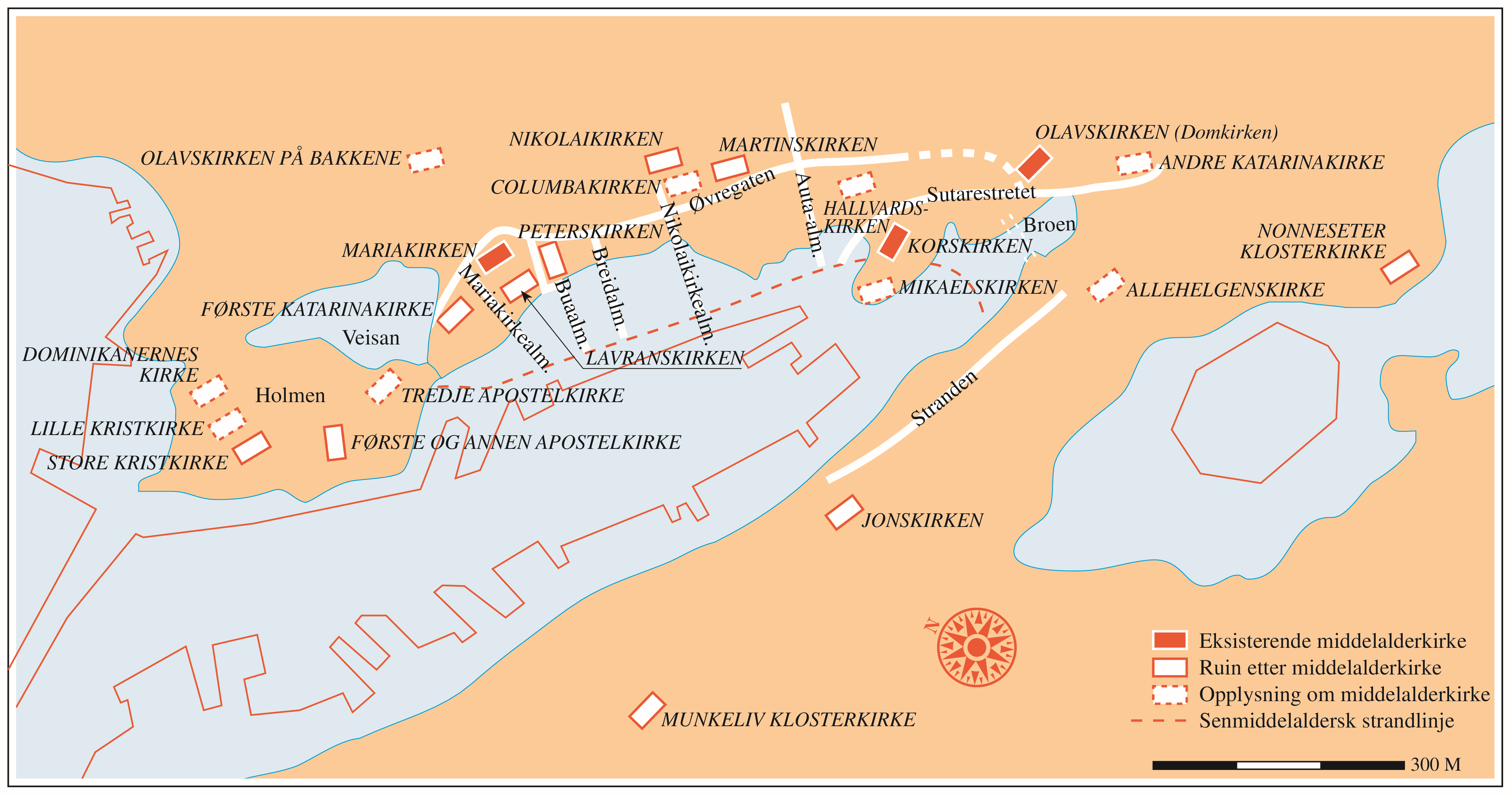 opplysningen kart Bergen i Middelalderen | Grind   Ei reise gjennom natur og kultur  opplysningen kart