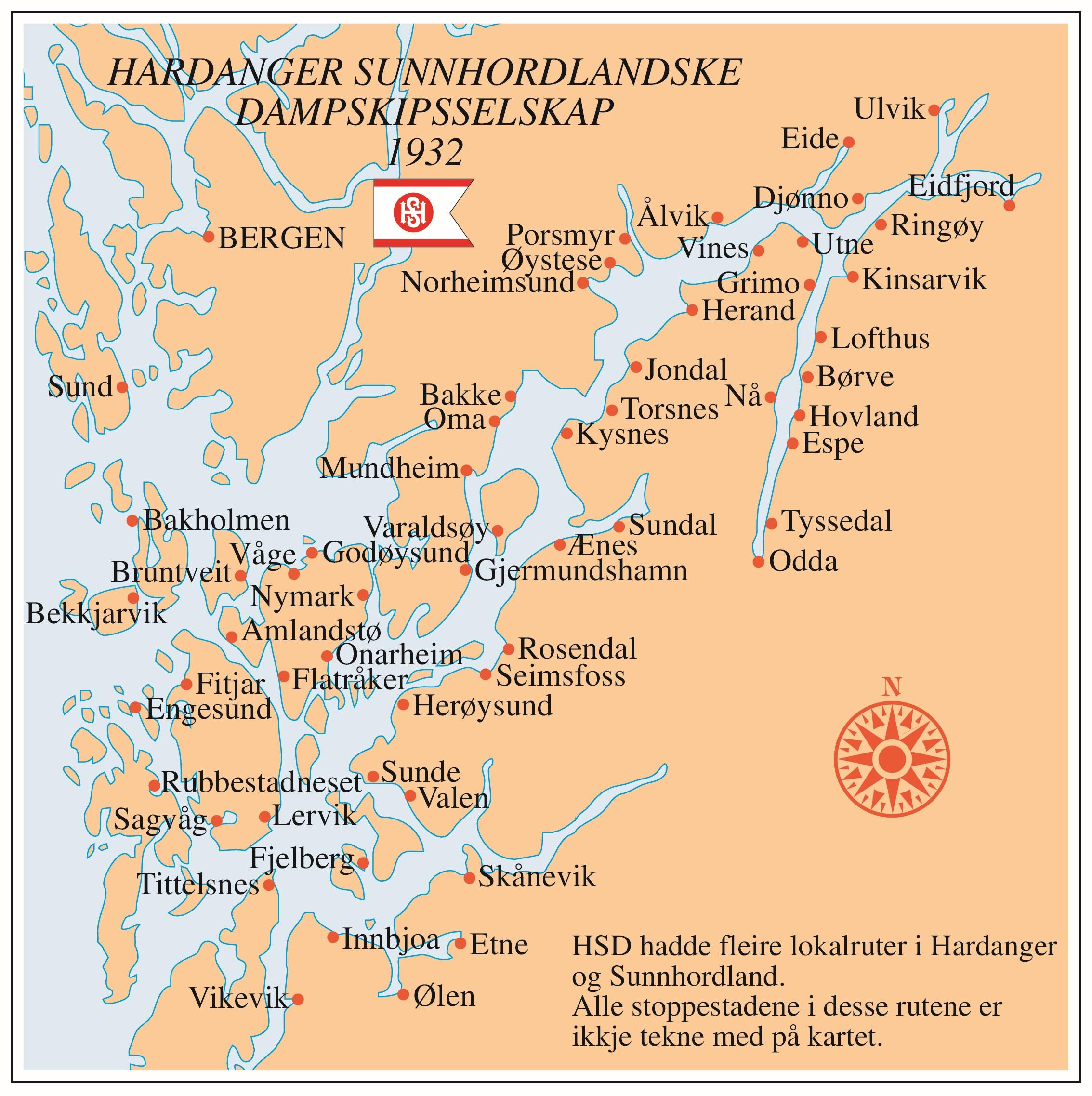tyssedal kart Rutedistrikt for fjordabåtane, 1932 | Grind   Ei reise gjennom  tyssedal kart
