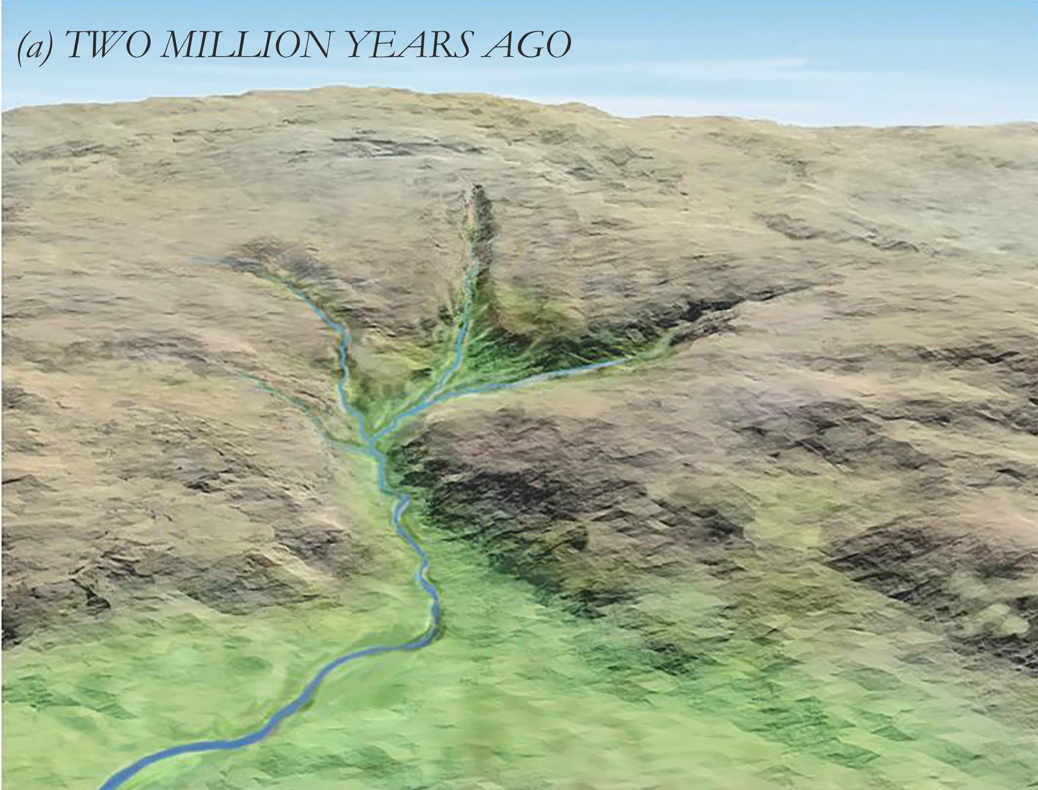 Creation of the landscape in the Isdal-region. (a) 2 million years ago. (Inge Aarseth/Kjell Helge Sjøstrøm/Masaoki Adachi)