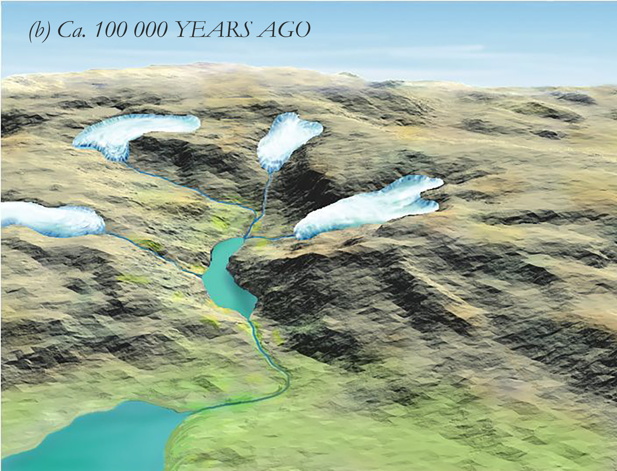 Creation of the landscape in the Isdal-region. (b) Approx. 100 000 years ago.