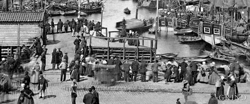«Triangelen» på Fisketorget i Bergen omkring 1865
