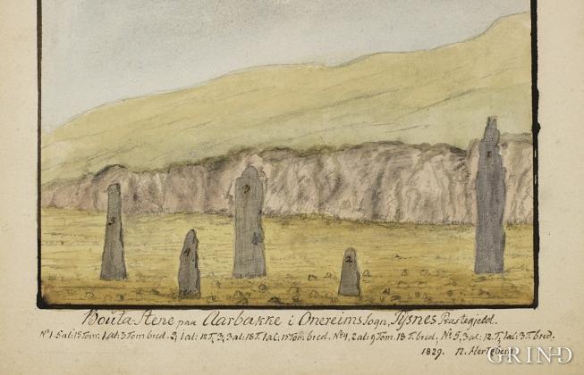 Akvarell frå 1829 av bautasteinar på Årbakkesanden, Tysnes