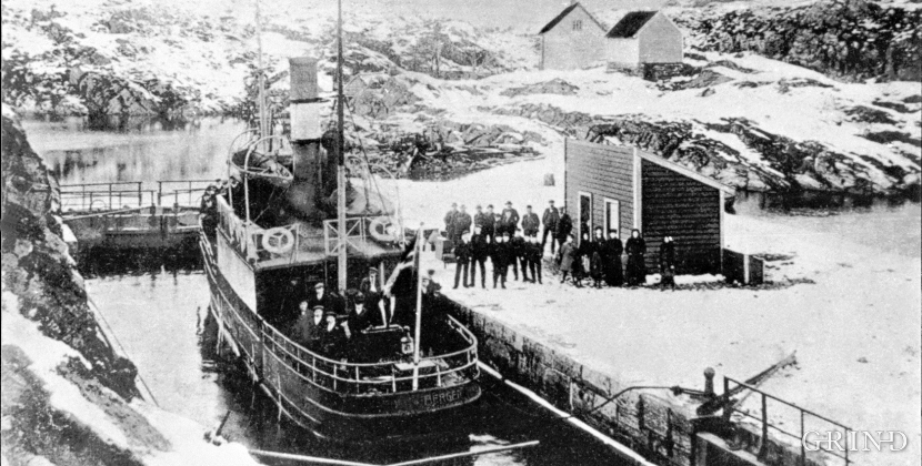 Lindås locks at the beginning of the 1900s.