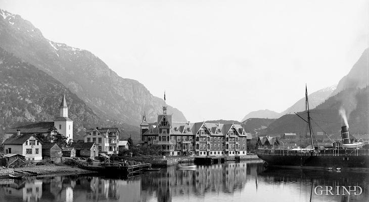 Odda kring 1900, med det andre Hotel Hardanger