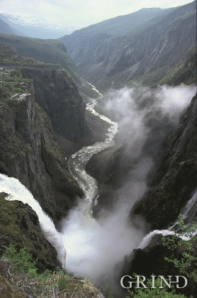 Vøringsfossen waterfall and the Upper Måbødalen Valley, as seen from the viewpoint at Hotel Fossli.