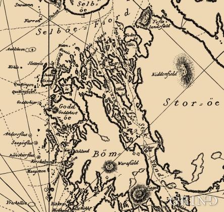 Utsnitt av sjøkart frå det danske sjøkartarkivet frå 1798, teikna av Poul Løvenørn.