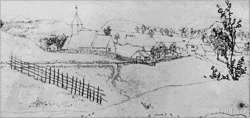Kyrkja på Kyrkjebyrkjeland som vart riven i 1878