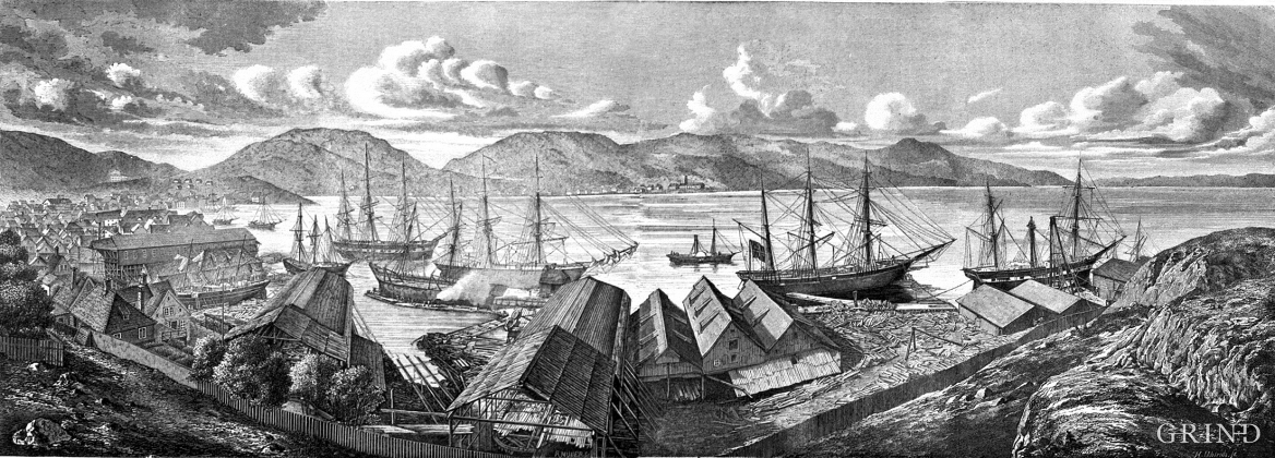 Xylograph of the shipyard, Bergen