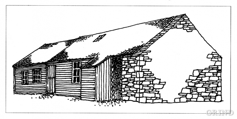 Drawing: longhouse, Sætre