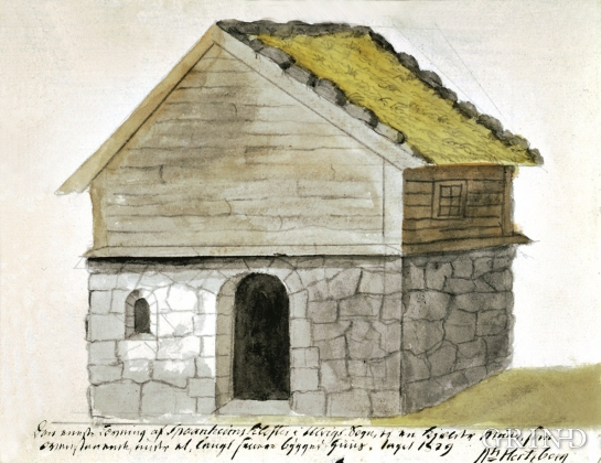 "Nils Hertzberg watercolour of ""Spånheimsklosteret"""