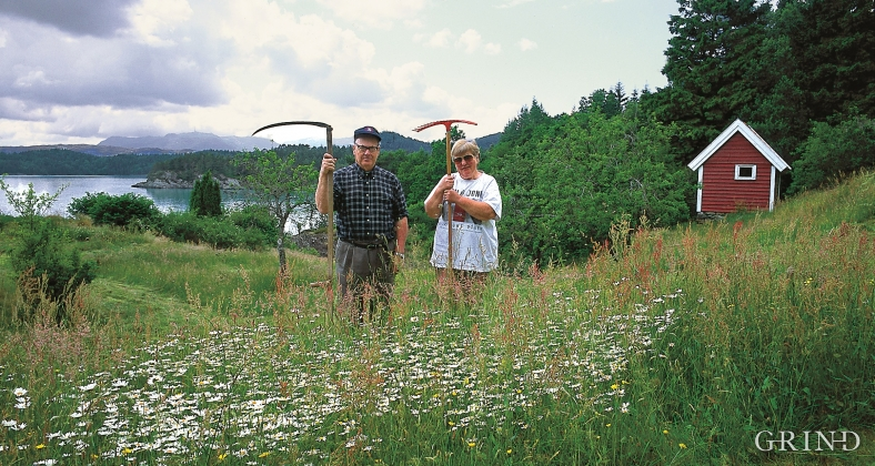 Anne and Reidar Skorpen during the hay harvest.