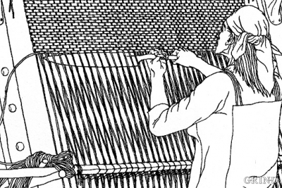 This artist's reconstruction of a Viking woman standing at her loom