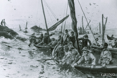 Spring herring fishery at Espevær in the 1850s