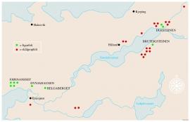 Kart over figur- og skålgropsfelt i Etne.