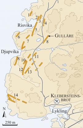 Kart som viser dei gullførande kvartsårene (gulbrune strekar).