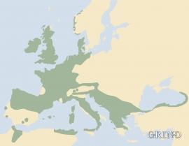 Utbreiinga av kristtorn i Europa.
