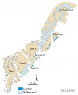 Kart over sonene med marmor og kalkrik skifer på nordsida av Hardangerfjorden.