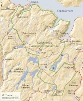 Kart over Stølsheimen landskapsvernområde.