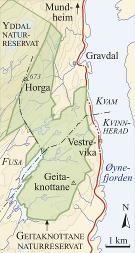 Map of  Geitaknottane nature preserve