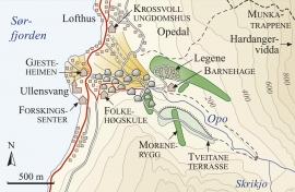 Kart over lausmassane i Opedal.