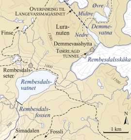Kart over områda kring Rembesdalsskåka.
