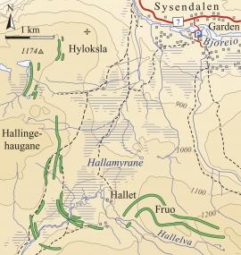 Kart over moreneryggene ved Hallamyrane.