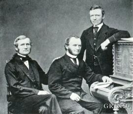 Brørne Jebsen om lag 1855. Frå venstre Johan, Peter og Jürg.
