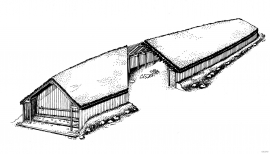 Reconstruction drawing of the long ship shed in Bjørvika.