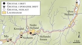 Kart over gamle og nye grustak i Modalen