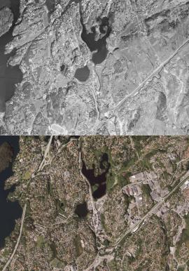 Nesttunområdet i 1951 (øverst) og 2016 (nederst).