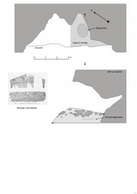 Teikningar i plan og profil frå utgravingane som viser gravstaden. Beinkammen er teikna inn.