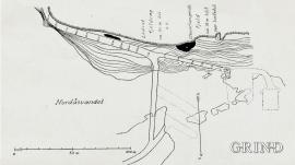 Kart over utgravningsfeltetene til Shetelig og Brinkmann.