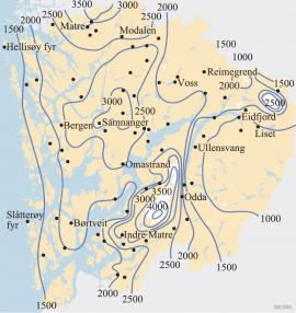 Kart over middelårsnedbør i Hordaland