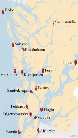 Kart over kjente korallrev i Hordaland.