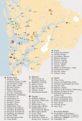 Kart over brudd som har levert stein til bygninger, brostein, murer og kaier i Hordaland.