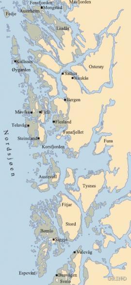 Kart over utbredelsen av den oversjøiske strandflaten i Hordaland
