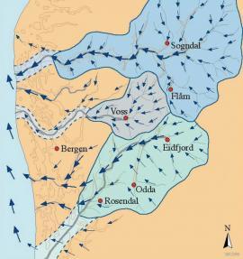 Kartet syner nedslagsfelta til dei største elvane før istidene