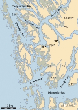 Kart over områder som nå er tørt land, men som var sjø da breen smeltet vekk på slutten av siste istid