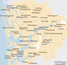 Kart over målestasjonar i Hordaland