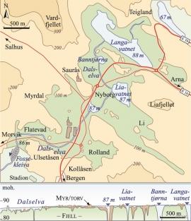 Kart over Midtbygda i Åsane. Lysegrønt: områder mellom 86 og 100 moh. Profilet under markerer den jevne fjelloverflaten langs Dalselva. (Inge Aarseth/Eva Bjørseth)