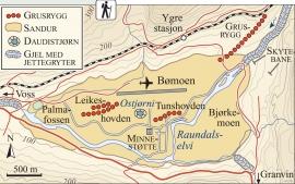 Kart over lausmassar og isdanna former på Bømoen