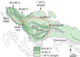 Kart over eklogittførekomstane på Holsnøy