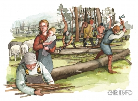 Dei første bøndene fjernar skogen