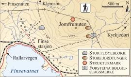 Kart over frostfenomen (og bølgjeslagsmerke) i Finseområdet