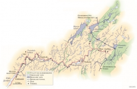 Kart over Eksovassdraget