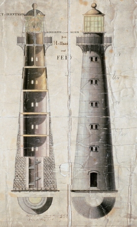 Original drawing from 1852 of Hellisøy lighthouse.