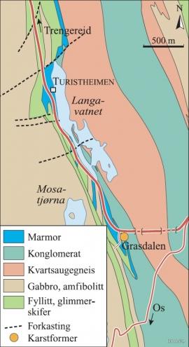 Geologisk kart over Langavatnområdet ved Gullbotnen